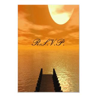 Sunset over A Dock Wedding Card