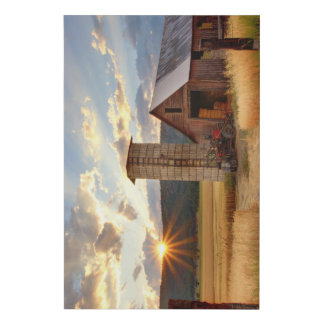 Sunset Over a Farm - Faux Canvas Print