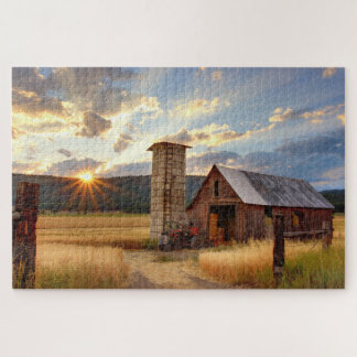 Sunset Over a Farm - Jigsaw Puzzle