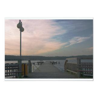 Sunset over a lake bridge Invitation