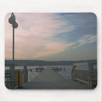 Sunset over a lake bridge mousepad