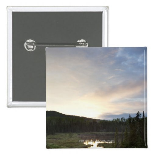 Sunset Over A Misty Pond 2 Inch Square Button