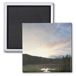 Sunset Over A Misty Pond Magnet