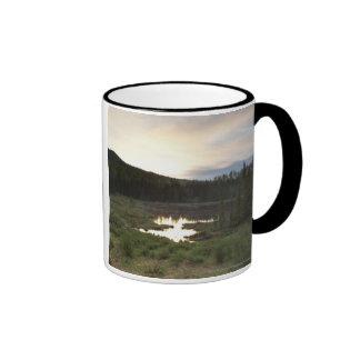 Sunset Over A Misty Pond Ringer Mug