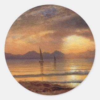 Sunset over a Mountain Lake - Albert Bierstadt Classic Round Sticker