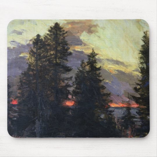 Sunset over a Winter Landscape, c.1902 Mouse Pad