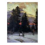 Sunset over a Winter Landscape, c.1902 Postcard