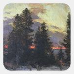 Sunset over a Winter Landscape, c.1902 Square Sticker
