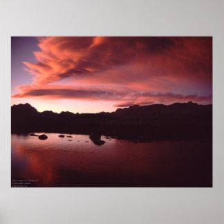 Sunset over alpine lake in California high Sierra Poster