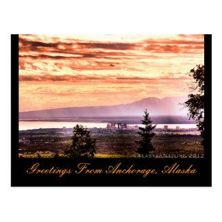 Sunset over Anchorage, Alaska Greetings Postcard