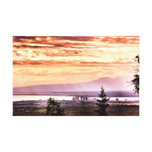 Sunset over Anchorage Canvas Stretched Canvas Prints