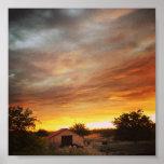 Sunset Over Barn Poster