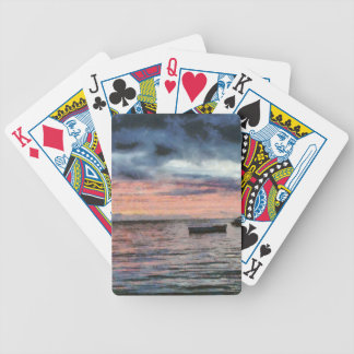 Sunset over bay bicycle playing cards