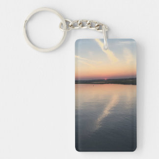 Sunset Over Bay - Double-sided Keychain, Rectangle Keychain