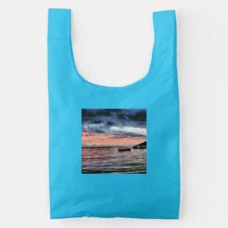 Sunset over bay reusable bag