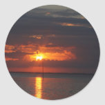 sunset over bay round stickers