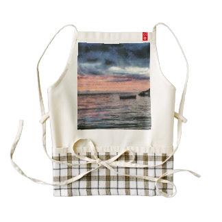 Sunset over bay zazzle HEART apron