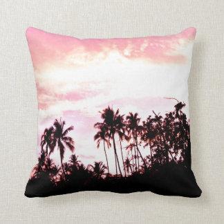 sunset over beach and peace throw pillows