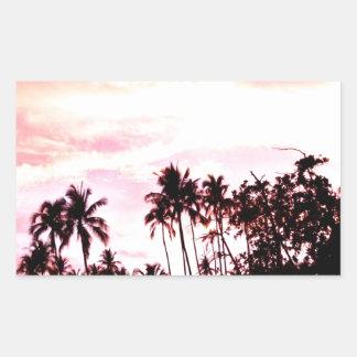 sunset over beach and peace rectangular sticker