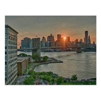 Sunset over Brooklyn Bridge Postcard