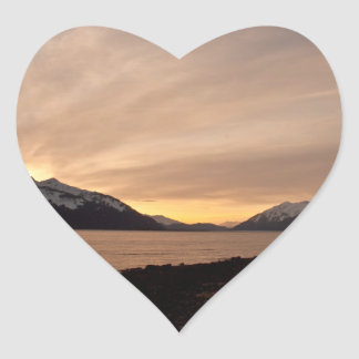 Sunset Over Cannery Bay Heart Sticker