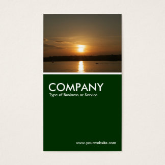 Sunset over Cardiff Bay - Dark Green Business Card