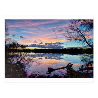 sunset over catawba river in north carolina postcard