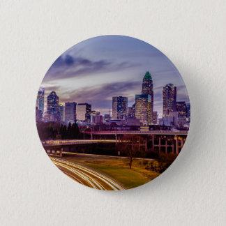 sunset over charlotte north carolina evening  city pinback button