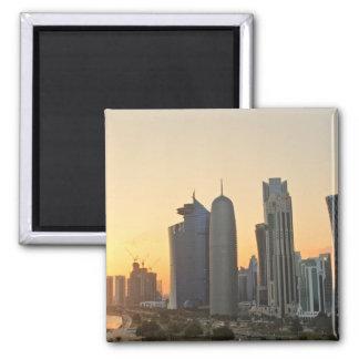 Sunset over Doha, Qatar 2 Inch Square Magnet