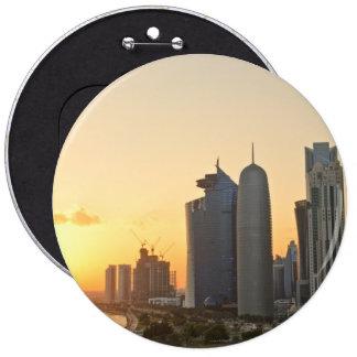 Sunset over Doha, Qatar 6 Inch Round Button