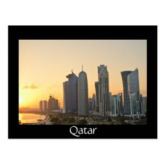 Sunset over Doha, Qatar black postcard