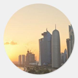 Sunset over Doha, Qatar Classic Round Sticker