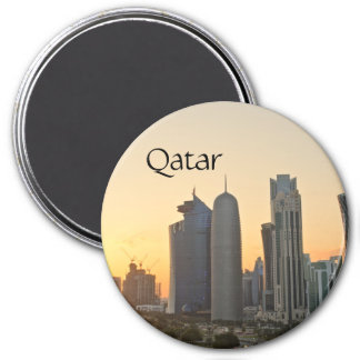 Sunset over Doha, Qatar magnet with text