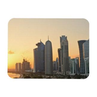 Sunset over Doha, Qatar rectangular magnet