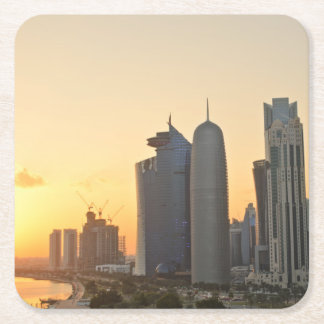 Sunset over Doha, Qatar Square Paper Coaster