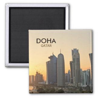 Sunset over Doha, Qatar square text magnet