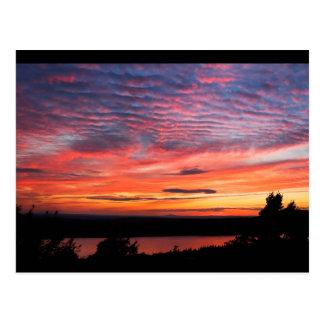 Sunset over Eagle Lake Acadia National Park Postcard