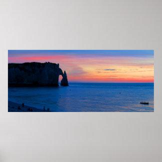 Sunset over Etretat Poster