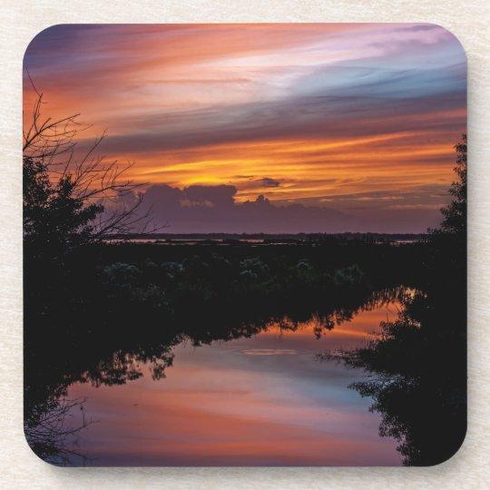 Sunset Over Florida Marsh Drink Coaster