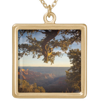 Sunset over Grand Canyon Square Pendant Necklace