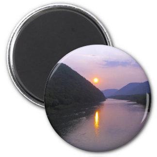 Sunset over Hyner Pennsylvania 2 Inch Round Magnet