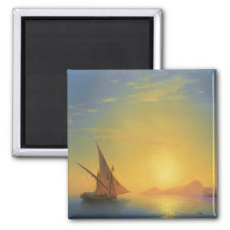 Sunset over Ischia Ivan Aivazovsky seascape waters 2 Inch Square Magnet