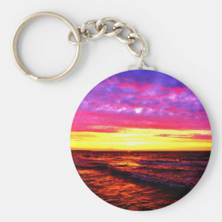 Sunset over Lake Erie Keychain