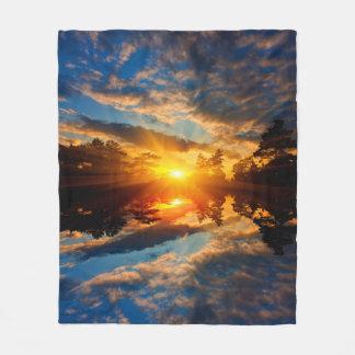 Sunset over Lake Fleece Blanket