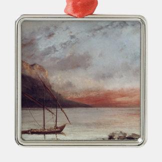 Sunset over Lake Leman, 1874 Metal Ornament