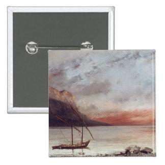 Sunset over Lake Leman, 1874 Pinback Button