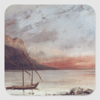 Sunset over Lake Leman, 1874 Square Sticker