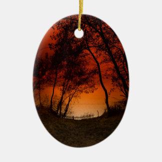 Sunset over Lake Michigan dunes Ceramic Ornament
