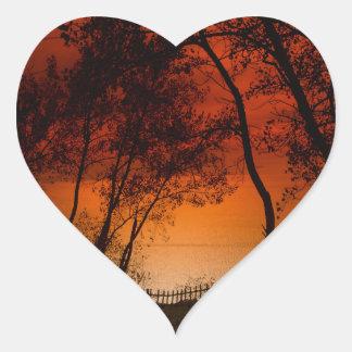 Sunset over Lake Michigan dunes Heart Sticker