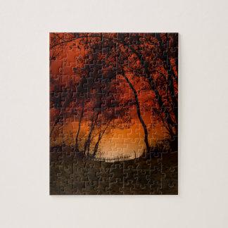 Sunset over Lake Michigan dunes Jigsaw Puzzle